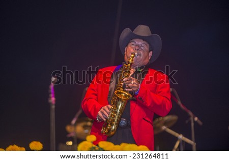 COACHELLA , CALIFORNIA - NOV 01 : Los Rieleros Del Norte band member perform live on stage at the Dia De Los Muertos celebration in Coachella , California on November 01 2014
