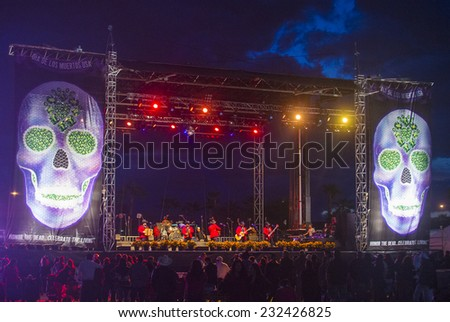 COACHELLA , CALIFORNIA - NOV 01 : Los Rieleros Del Norte band perform live on stage at the Dia De Los Muertos celebration in Coachella , California on November 01 2014 - stock photo