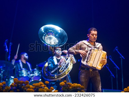 COACHELLA , CALIFORNIA - NOV 01 : Singer Noel Torres perform live on stage at the Dia De Los Muertos celebration in Coachella , California on November 01 2014 - stock photo