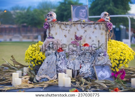 COACHELLA , CALIFORNIA - NOV 01 : Traditional Mexican altar installation at the Dia De Los Muertos Experience in Coachella , California on November 01 2014 - stock photo