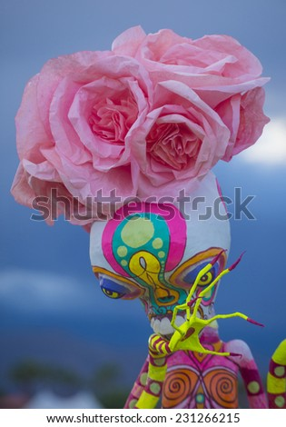COACHELLA , CALIFORNIA - NOV 01 : Traditional Mexican art installation at the Dia De Los Muertos Experience in Coachella , California on November 01 2014 - stock photo