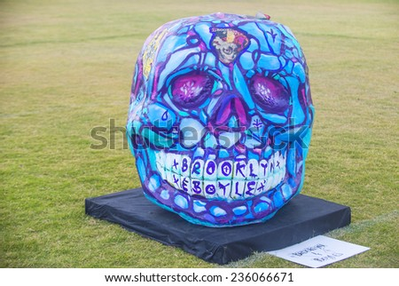 COACHELLA , CALIFORNIA - NOV 01 : Traditional Mexican Painted Skull at the Dia De Los Muertos Experience in Coachella , California on November 01 2014 - stock photo