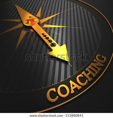 """Coaching - Business Background. Golden Compass Needle on a Black Field Pointing to the Word """"Coaching"""". 3D Render. - stock photo"""