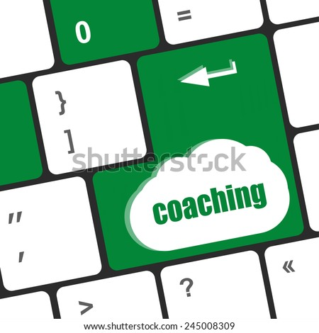 Coaching Button on Modern Computer Keyboard with Word coaching on It - stock photo