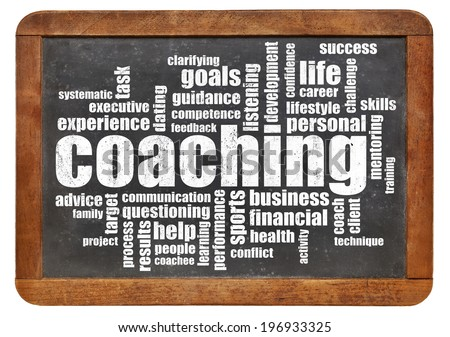 coaching concept - a related word cloud on a vintage blackboard