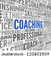 Coaching concept related words in tag cloud isolated on white - stock