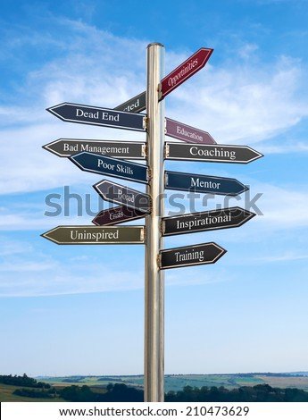Coaching Going in the right direction, Signpost concept. - stock photo