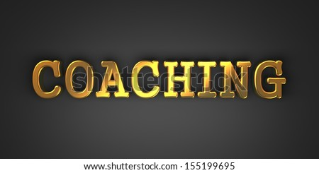 Coaching - Gold Text on Dark Background. Business Concept. 3D Render. - stock photo