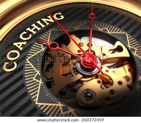 Coaching on Black-Golden Watch Face with Closeup View of Watch Mechanism.  - stock photo