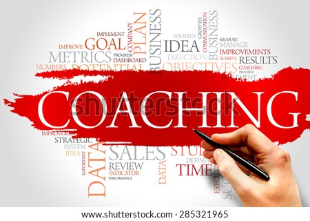 Coaching word cloud, business concept - stock photo