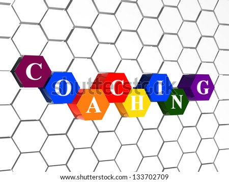 coaching - word in cellular structure, 3d color hexagons with white text, business growth concept - stock photo