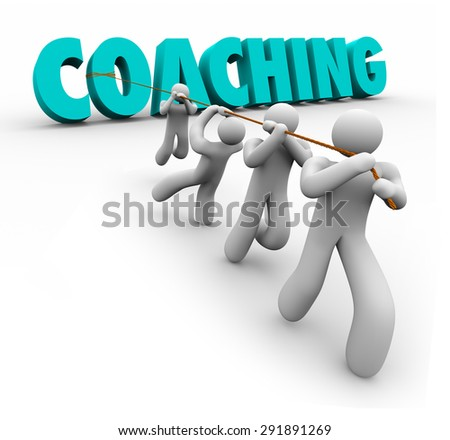 Coaching word in 3d letters pulled by a team to illustrate training, practice, exercise, leadership and teamwork to achieve a goal or success - stock photo