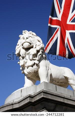 Coade Stone Lion seen from Westminster Bridge - stock photo