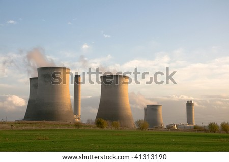 coal and natural-gas fired power station - stock photo