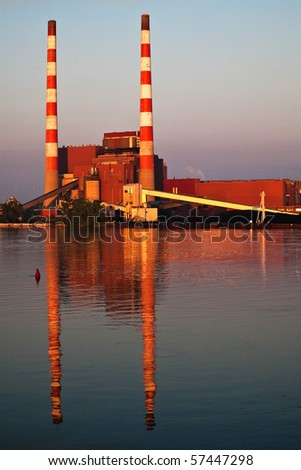 Coal Burning Electrical Power Station On River - stock photo