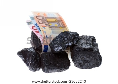coal, carbon nuggets and euro banknote - stock photo