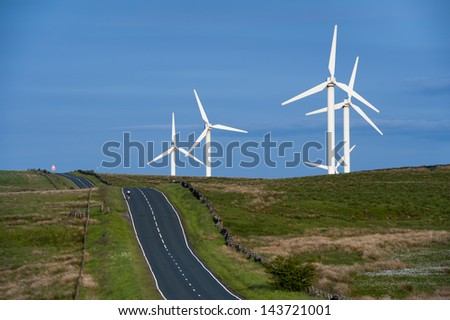 coal clough wind farm burnley, lancashire, england, uk - stock photo