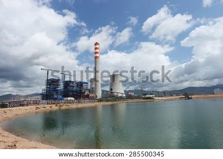 Coal fire Lignite power plant and 500 kV switchgear under-construction.