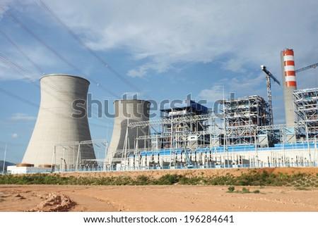 Coal fire Lignite power plant  under-construction  - stock photo