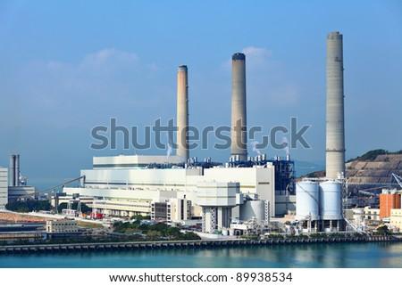 coal fire power plant - stock photo