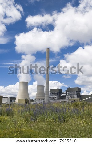 coal fired clean energy power plant - stock photo