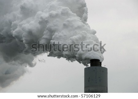 Coal-Fired Plant Emission - stock photo