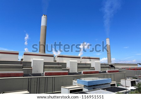 Coal fired power plant - stock photo