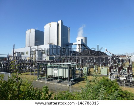 Coal-fired power plant in Hanover, Germany. District heating capacity is a maximum of 425 MW - stock photo