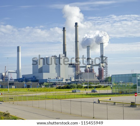 coal-fired power plant on the Maasvlakte, the industrial harbor district of Rotterdam - stock photo