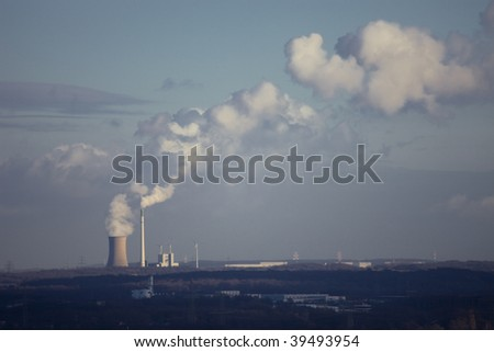 Coal-Fired Power Station and Wind Turbines - stock photo