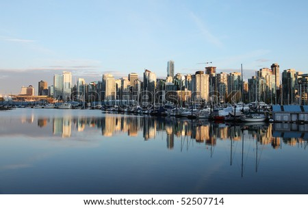 Coal Harbor at sunset, Vancouver, British Columbia - stock photo
