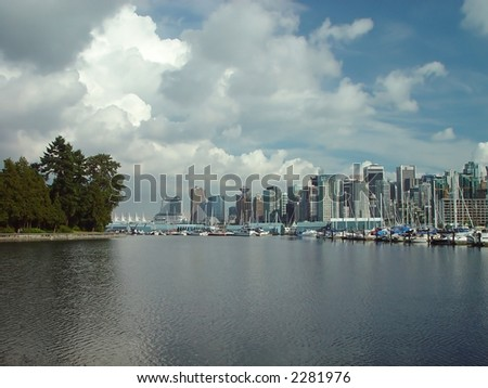 Coal harbour from Vancouver, Canada - stock photo