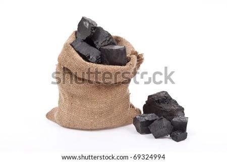 Coal in sack - stock photo
