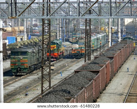 Coal in wagons - stock photo