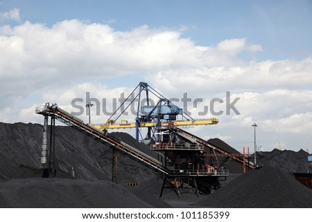 Coal industry facilities at port - stock photo