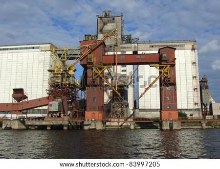 Coal loading dock in Riga port - stock photo