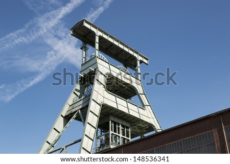 Coal mine headframe above an underground mine shaft, Herne is located in the Ruhr area in Germany. - stock photo