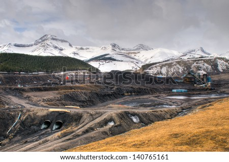 Coal Mine in the mountains, Alberta Canada - stock photo