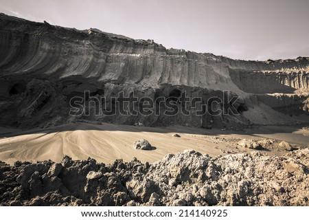 coal mine land a layer - stock photo