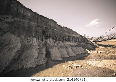 coal mine land a layer's   - stock photo