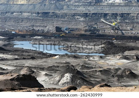 coal mine with a Bucket-wheel excavator - stock photo