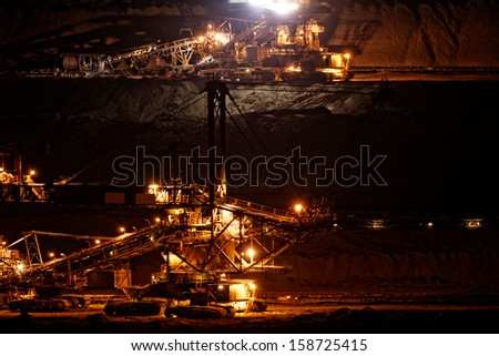 Coal mining in an open pit - evening photo - stock photo