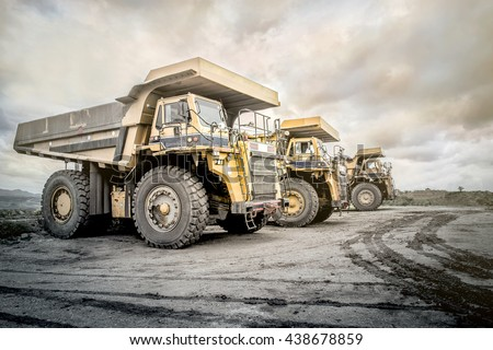 Coal mining. The truck transporting coal, Thailand. - stock photo