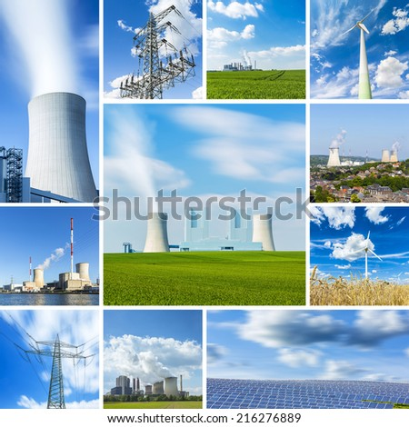 coal power plant energy alternative energy sources windpower nuclear power collage set - stock photo