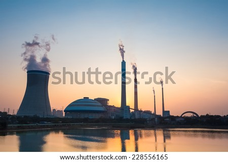 coal power plant in sunset , industrial landscape  - stock photo