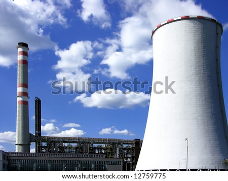 coal power-plant with cooling-tower in bohemia - stock photo
