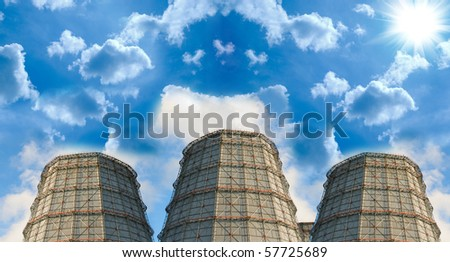 coal power plants with pipe on blue sky background - stock photo
