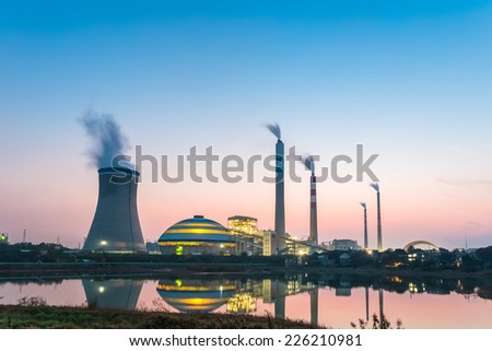 coal power station at night , industrial landscape   - stock photo