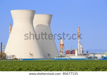 Coal power station - Oil Refineries - stock photo
