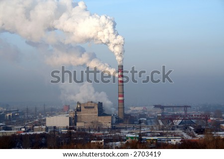 coal powerplant with smoking chute
